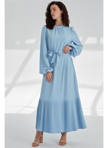 Vivencia Belden Bağlamalı Plise Detaylı Kadın Elbise Indigo Mavi